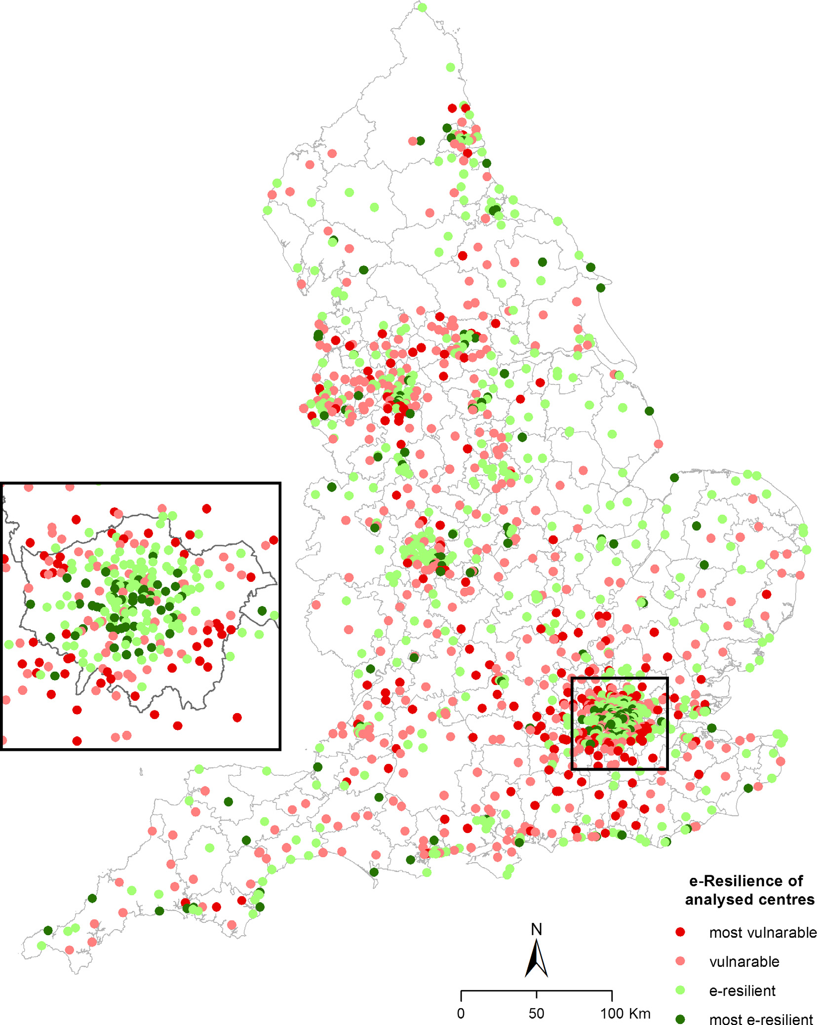 The e-resilience of town centres in England